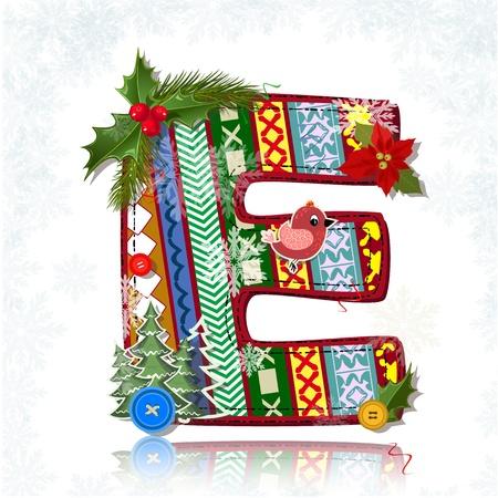 flower font: Art Christmas letter handmade
