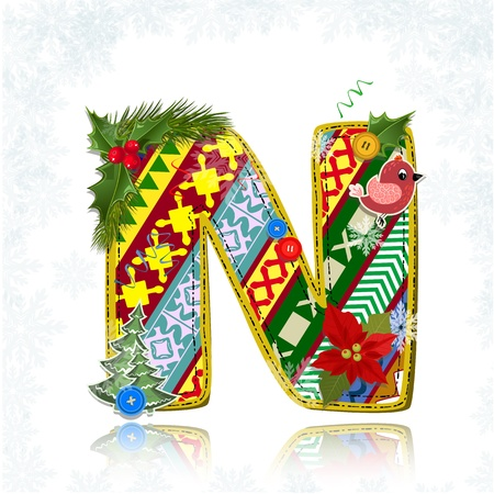 flower alphabet: Art Christmas letter handmade