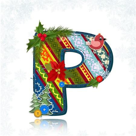 Art Christmas letter handmade Stock Vector - 16593139