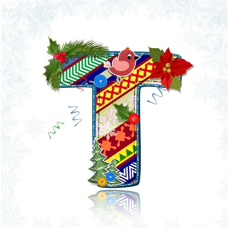alphabet style: Art Christmas letter handmade