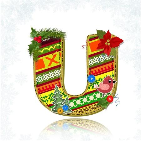 floral alphabet: Art Christmas letter handmade