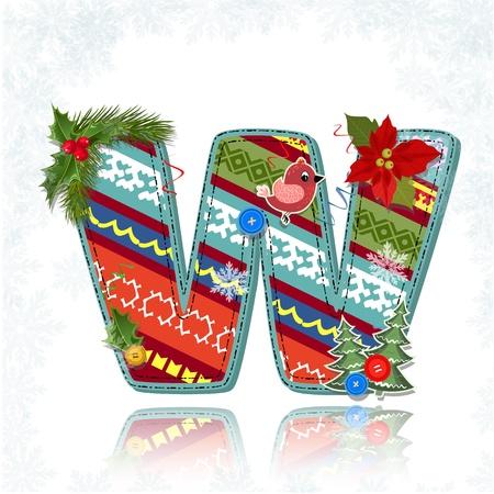 xmas floral: Art Christmas letter handmade