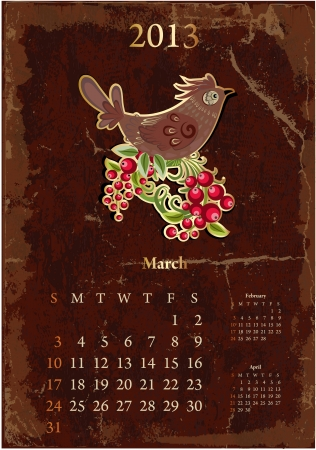 Retro vintage calendar for 2013, March Vector