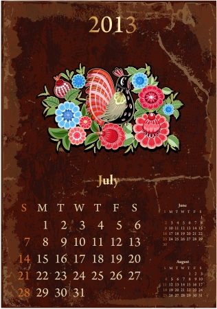 Retro vintage calendar for 2013, July Vector