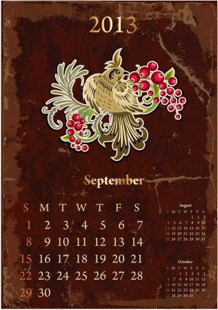 Retro vintage calendar for 2013, september Stock Vector - 16593262