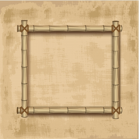 Retro bamboo Frame grunge background Vector