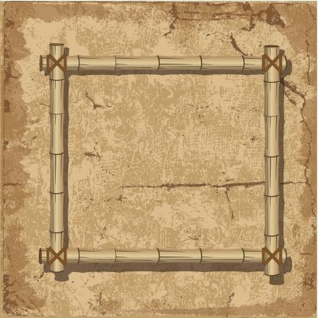 bamboo border: Retro bamboo Frame grunge background