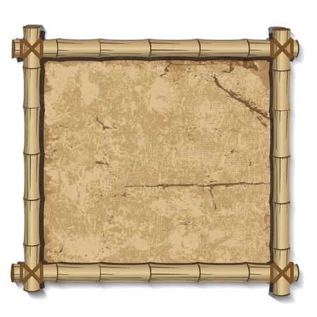 Retro bamboo Frame grunge background Vector