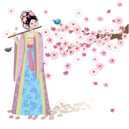 geisha: Beautiful Oriental girl near cherry blossoms