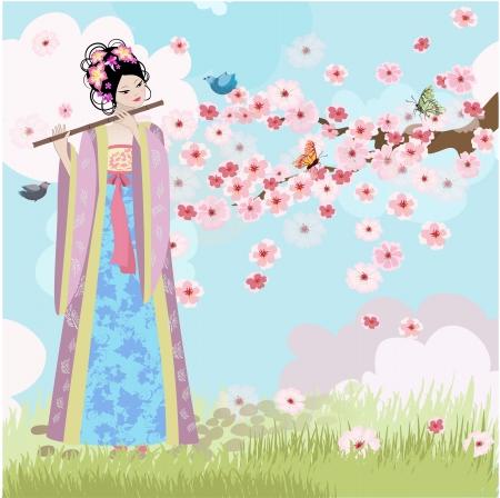 flet: Piękna dziewczyna w pobliżu Oriental kwiatów wiśni