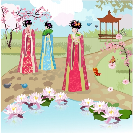chinese pagoda: Chinese girls at the pond