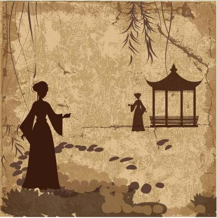 japanese temple: Vintage retro landscape wallpaper with girls