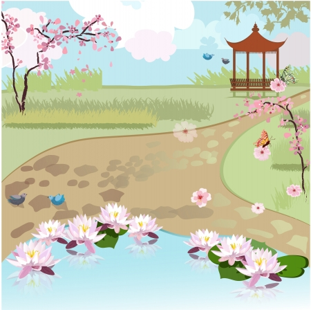 Asian beautiful landscape  Vector