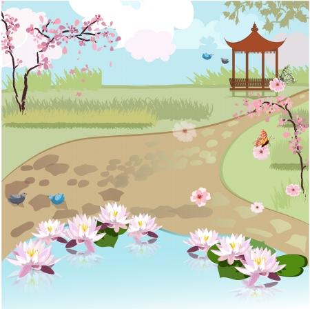 pagoda: Hermoso paisaje de Asia
