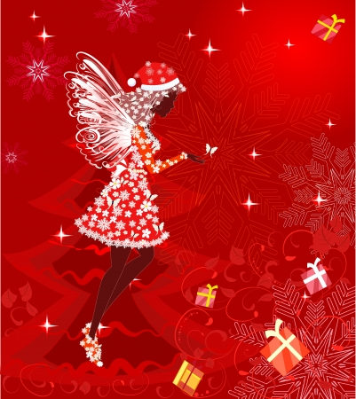 fairy tree: Christmas fairy for your design Illustration