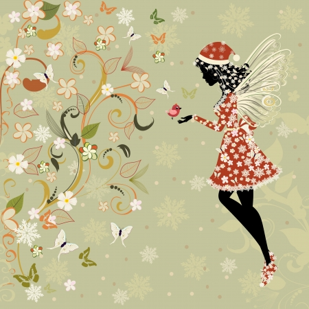 Christmas fairy for your design Vector