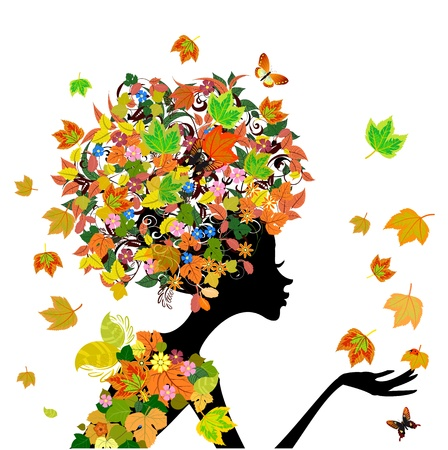 girl fashion flowers in autumn