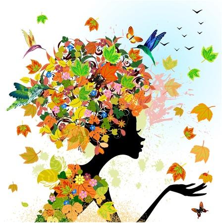 donna farfalla: moda ragazza fiori in autunno Vettoriali