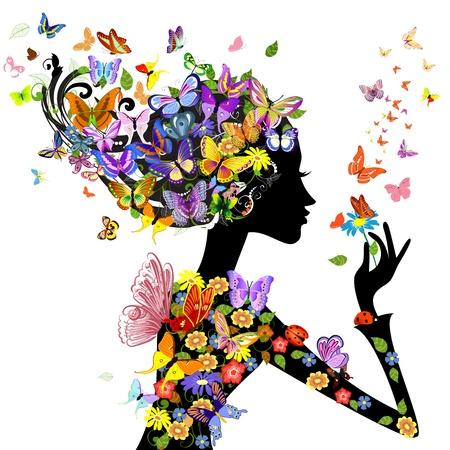 papillon dessin: fleurs femme fille avec des papillons