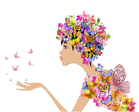 woman profile: girl fashion flowers with butterflies