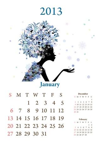 year january: Fashion girls 2013 calendar year, January