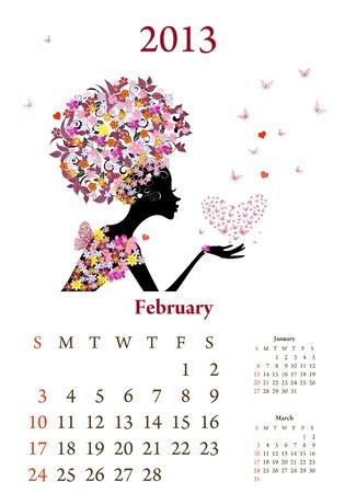 Fashion girls 2013 calendar year, February Stock Vector - 16787583