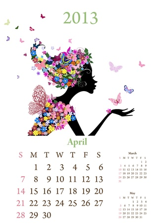 Fashion girls 2013 calendar year,april Stock Vector - 16787543