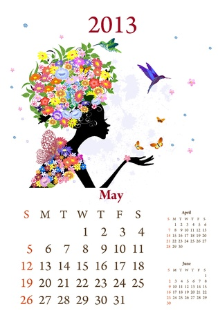Fashion girls 2013 calendar year, may Stock Vector - 16787630