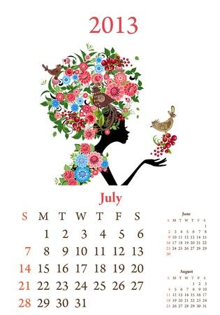 Fashion girls 2013 calendar year, july Stock Vector - 16787537