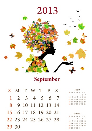 Fashion girls 2013 calendar year, september Stock Vector - 16787547