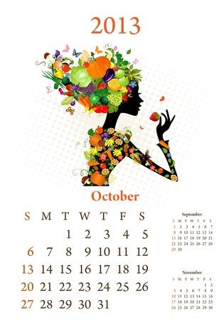 Fashion girls 2013 calendar year, october Vector