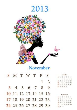 Fashion girls 2013 calendar year, november Stock Vector - 16787540