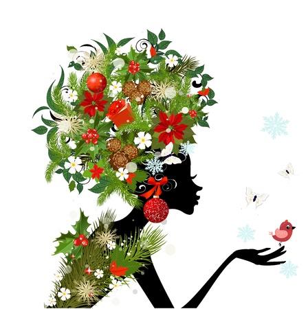 flor de pascua: Chica de moda con el peinado de la Navidad para su dise�o Vectores