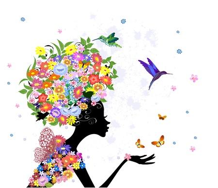 girl fashion flowers Stock Vector - 16787575
