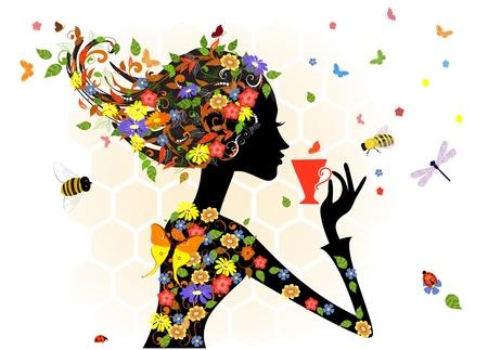 exotic woman: girl fashion flowers Illustration