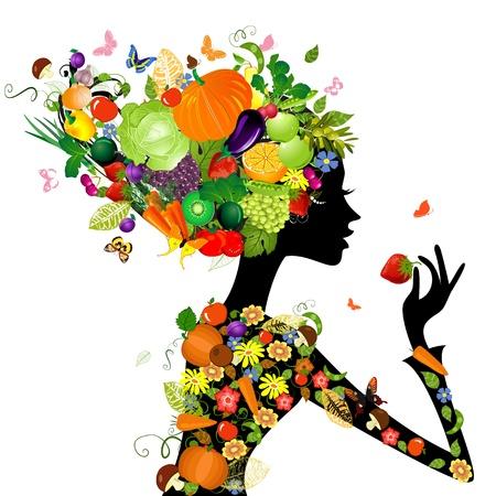 Moda ragazza con i capelli a base di frutta per il vostro disegno Vettoriali