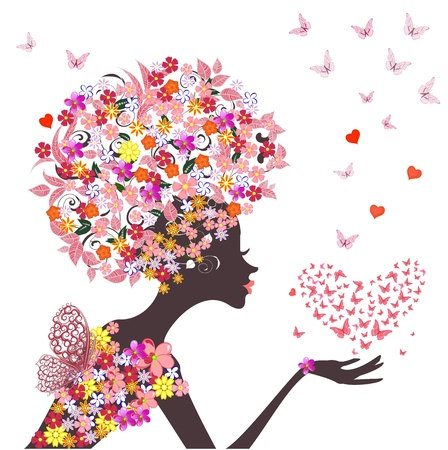 fashion flowers girl with a heart of butterflies Stock Vector - 16787579