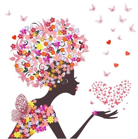 mode bloemen meisje met een hart van vlinders Stock Illustratie
