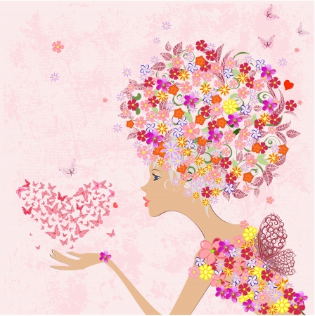 woman face profile: fashion flowers girl with a heart of butterflies