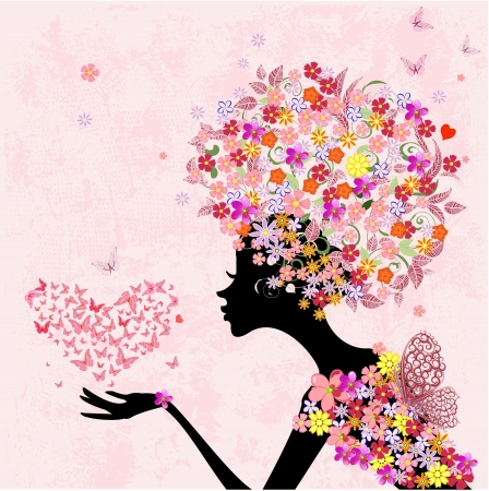 fashion flowers girl with a heart of butterflies Stock Vector - 16787693