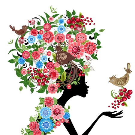 girl fashion flowers Illustration