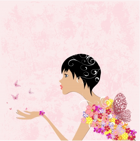 fleurs femme fille avec des papillons