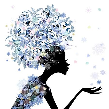 wintermode: Trendy Blumenm�dchen Frisur f�r Ihr Design Illustration