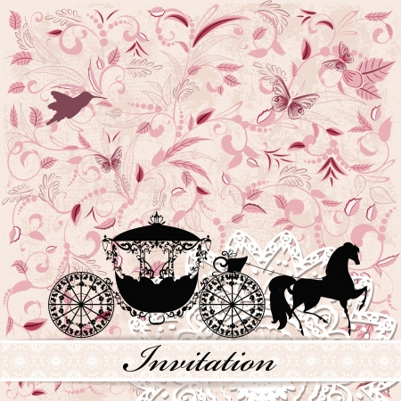 card design with vintage carriage Vector