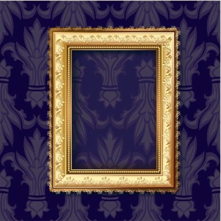 baroque picture frame: Golden frame for vintage backgrounds  Illustration