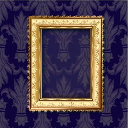 old picture frame: Golden frame for vintage backgrounds  Illustration