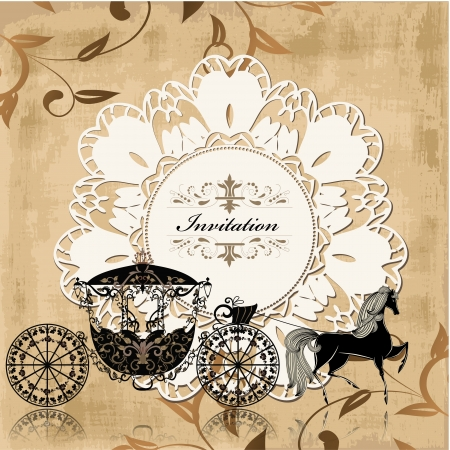 horse and carriage: Vintage retro design with carriage and horse