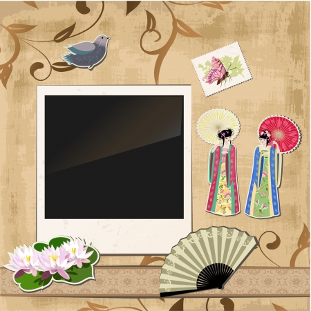 chinese fan: scrapbooking. Asian girl with vintage patterns for your design