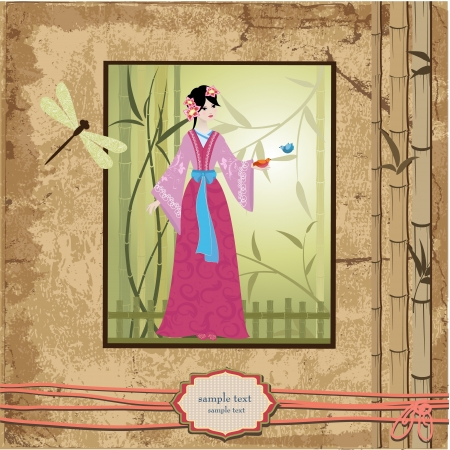 scrapbooking. Asian girl with vintage patterns for your design Vector
