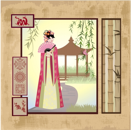 chinese border: scrapbooking. Asian girl with vintage patterns